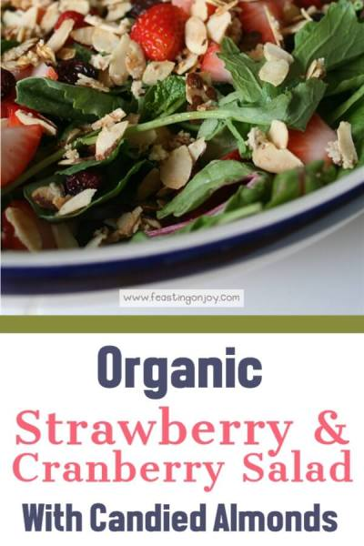 Organic Strawberry & Cranberry Salad with Candied Almonds | Feasting On Joy
