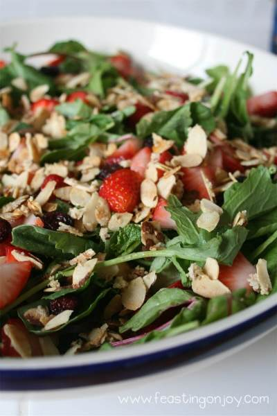 Organic Strawberry & Cranberry Salad with Candied Almonds 2 | Feasting On Joy