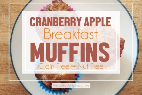 Cranberry Apple Breakfast Muffins {Grain Free & Nut Free} 1 | Feasting On Joy