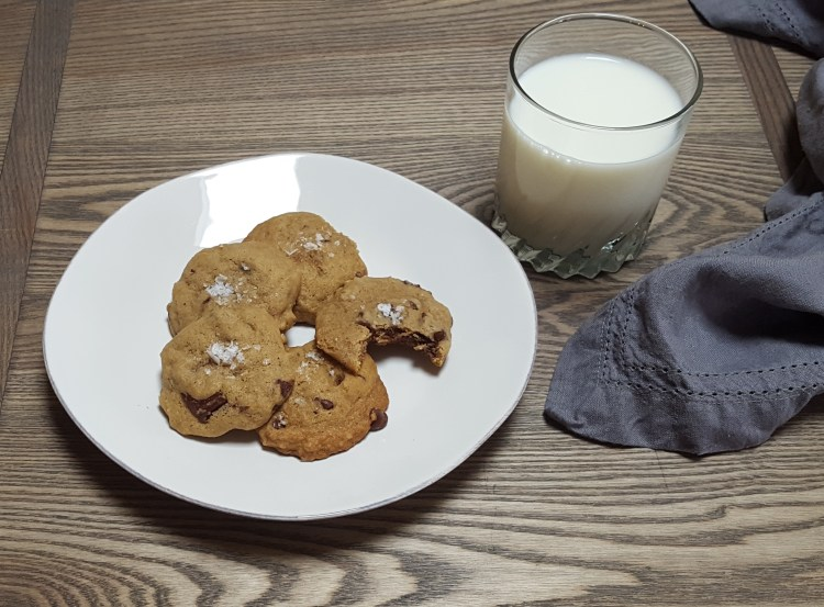 Salted Chocolate Chunk Bourbon Cookies | Feast In Thyme