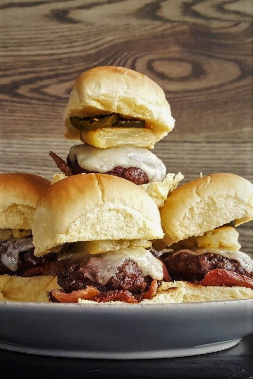 Hawaiian-Style Sliders with Bacon, Pineapple, and Candied Jalapeno