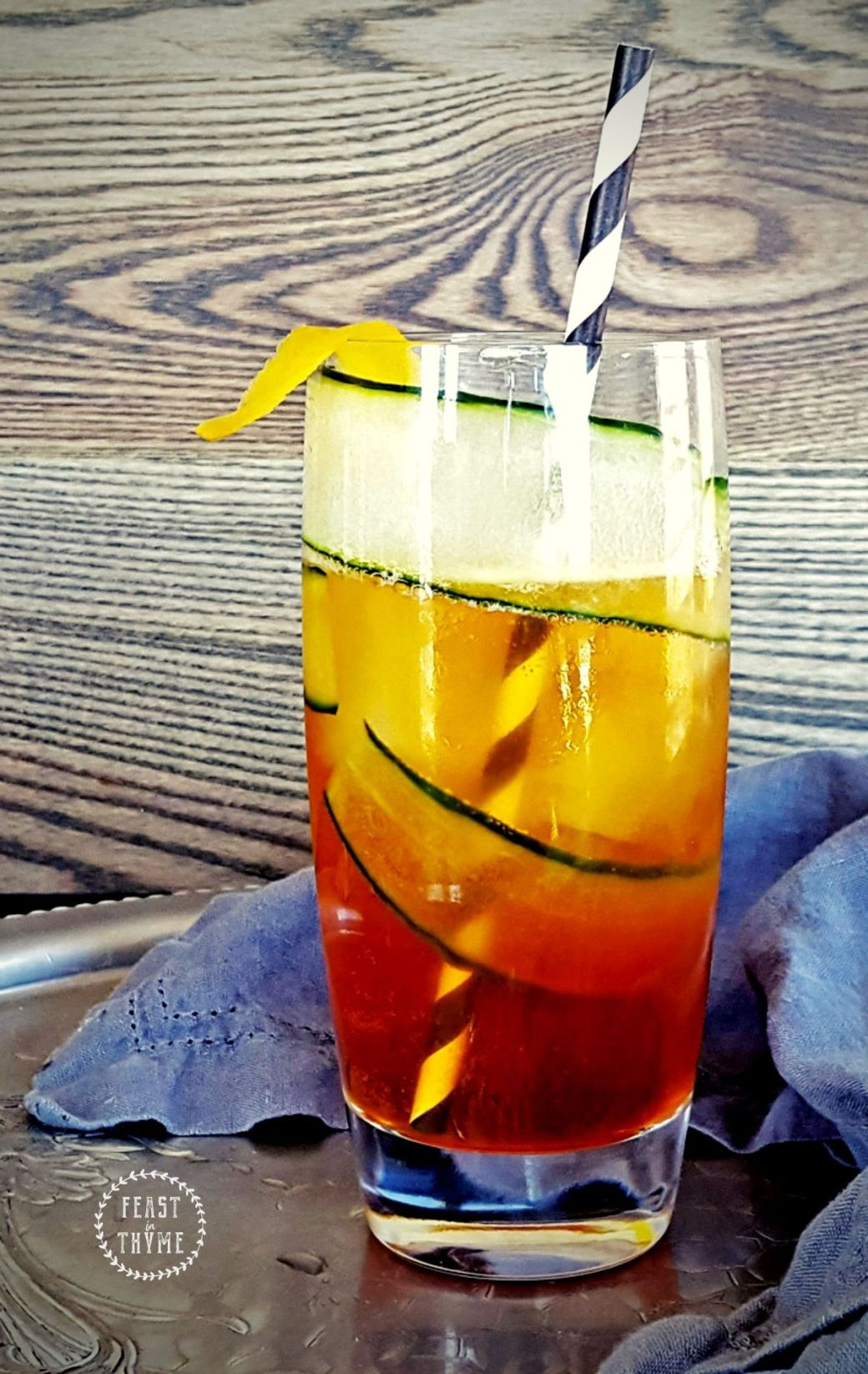 Pimm\'s Cup with Lemon Simple Syrup & Muddled Cucumber