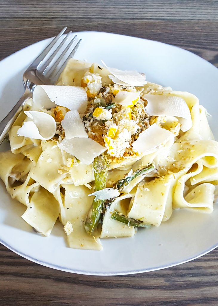 Creamy Mushroom & Roasted Asparagus Pappardelle Pasta with Panko and Preserved Lemon Crunch | Feast In Thyme