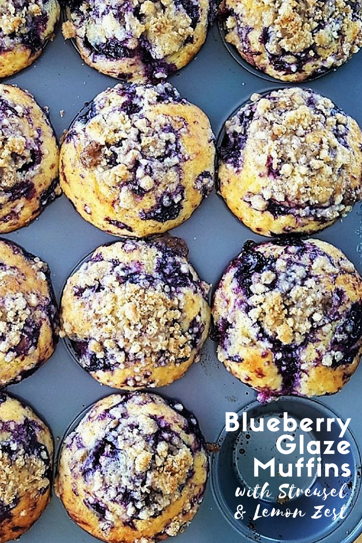 Filled with juicy berries and covered with a sweet crumbly topping, these Blueberry Glaze Muffins with Streusel & Lemon Zest are fluffy and popping with delightfully bright flavors for summer. | FeastInThyme.com