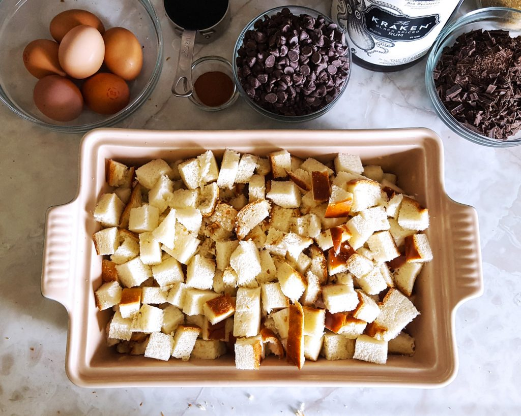 Mocha Rum Bread Pudding with Spiked Coconut Whipped Cream   Caribbean Fete   Feast In Thyme