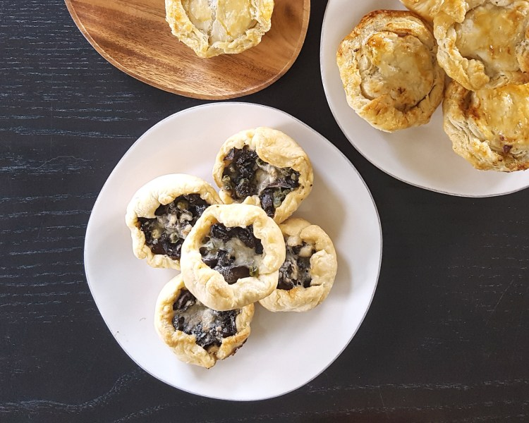Mini Mixed Mushroom, Pea, & Gruyere Picnic Pies (Vegetarian) | FeastInThyme.com