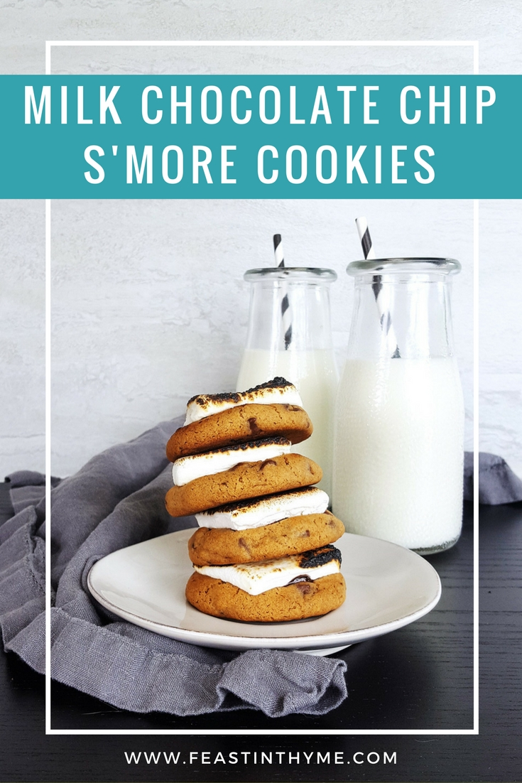 This easy, crowd-pleasing recipe for Milk Chocolate Chip S'more Cookies combines the best parts of a soft chocolate chip cookie with the iconic flavors of a graham cracker. For a final touch, it\'s blanketed in a fluffy, toasted marshmallow that will remind you of nights by a campfire.