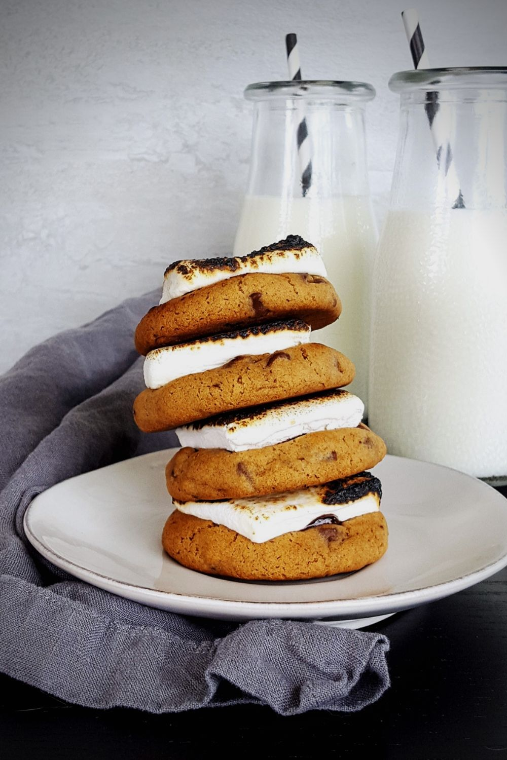 Milk Chocolate Chip S'more Cookies with Toasted Marshmallows