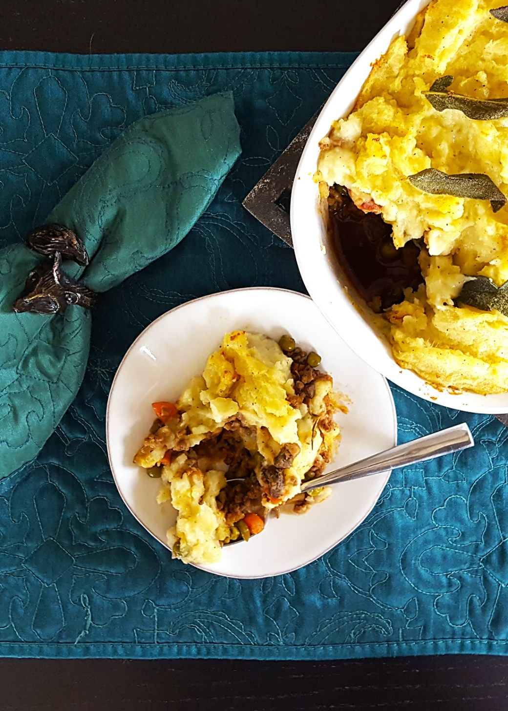 Sage & Brown Butter Mashed Potato Shepherd's Pie with Guinness, Bacon, & Beef Filling | FeastInThyme.com