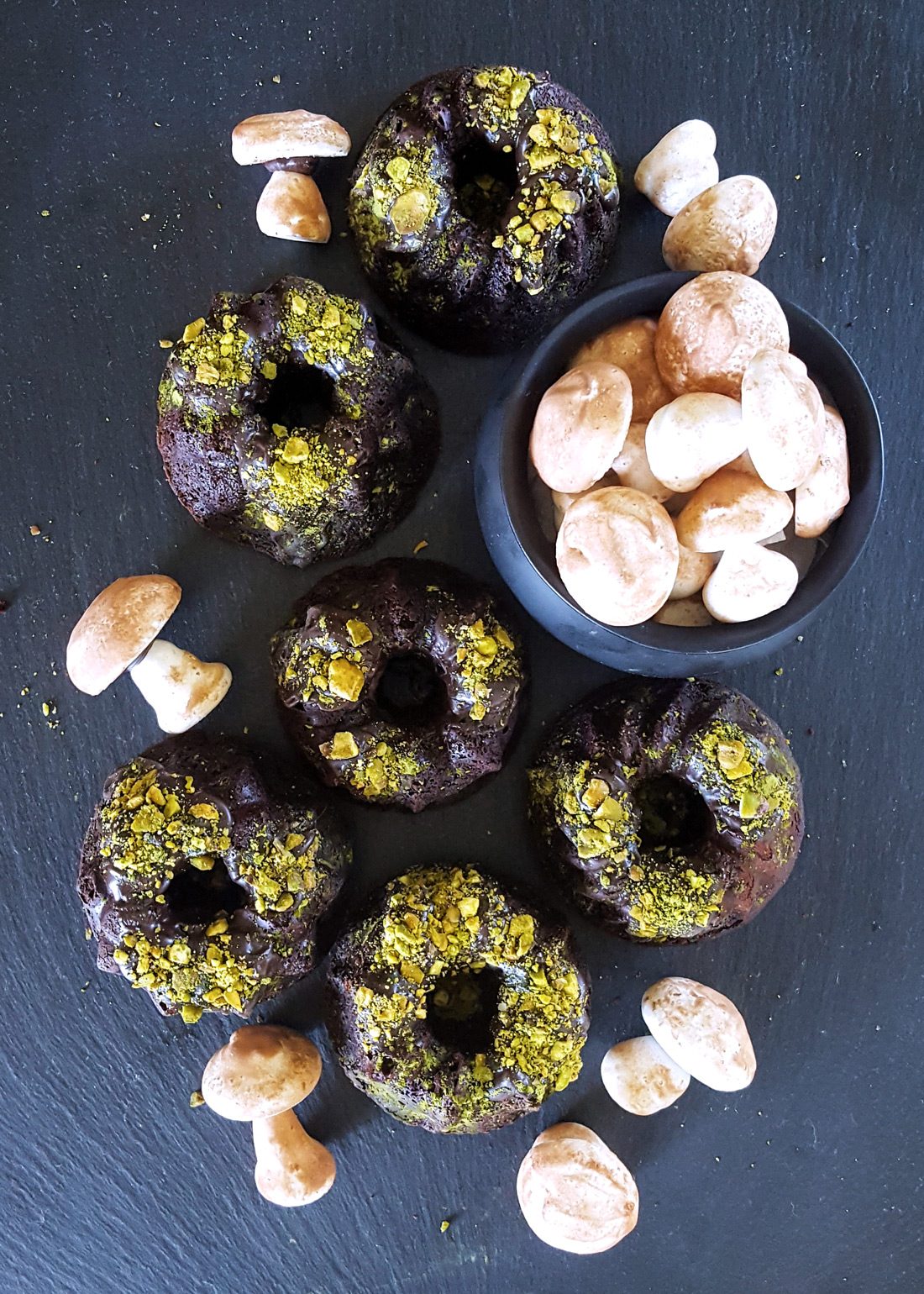 Mini Bourbon Dark Chocolate Cakes with Matcha Pistachio Moss