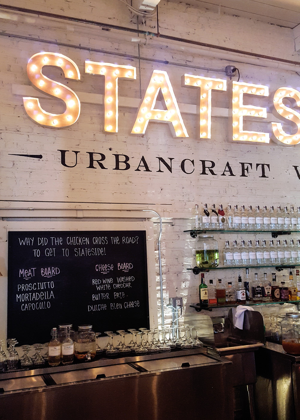 An interior shot of the tasting room for the Stateside Urbancraft Vodka distillery. | Thymeline 35: Celebrating Philly Craft Spirits | FeastInThyme.com