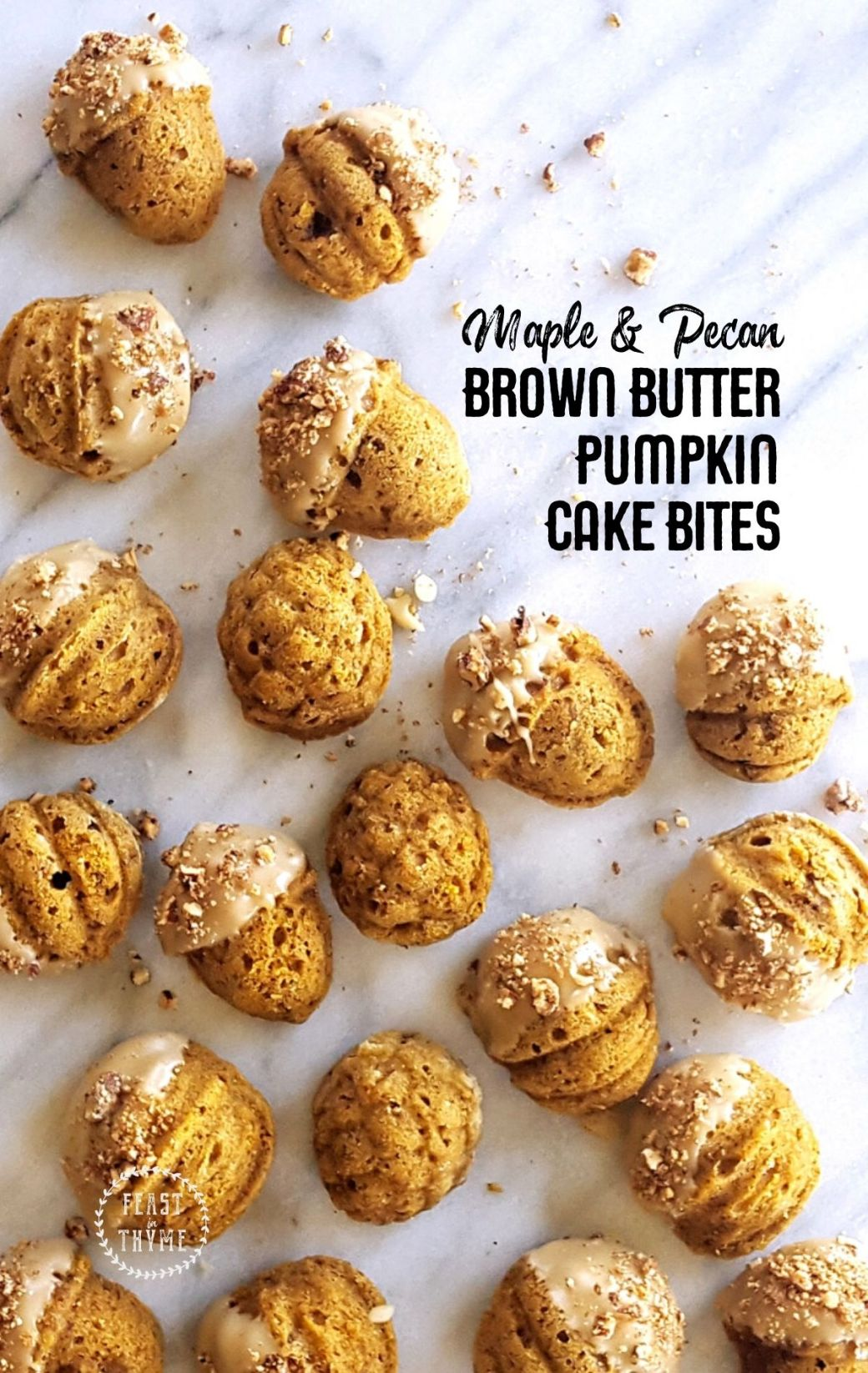Brown Butter Pumpkin Cake Bites with Maple Glaze & Candied Pecans