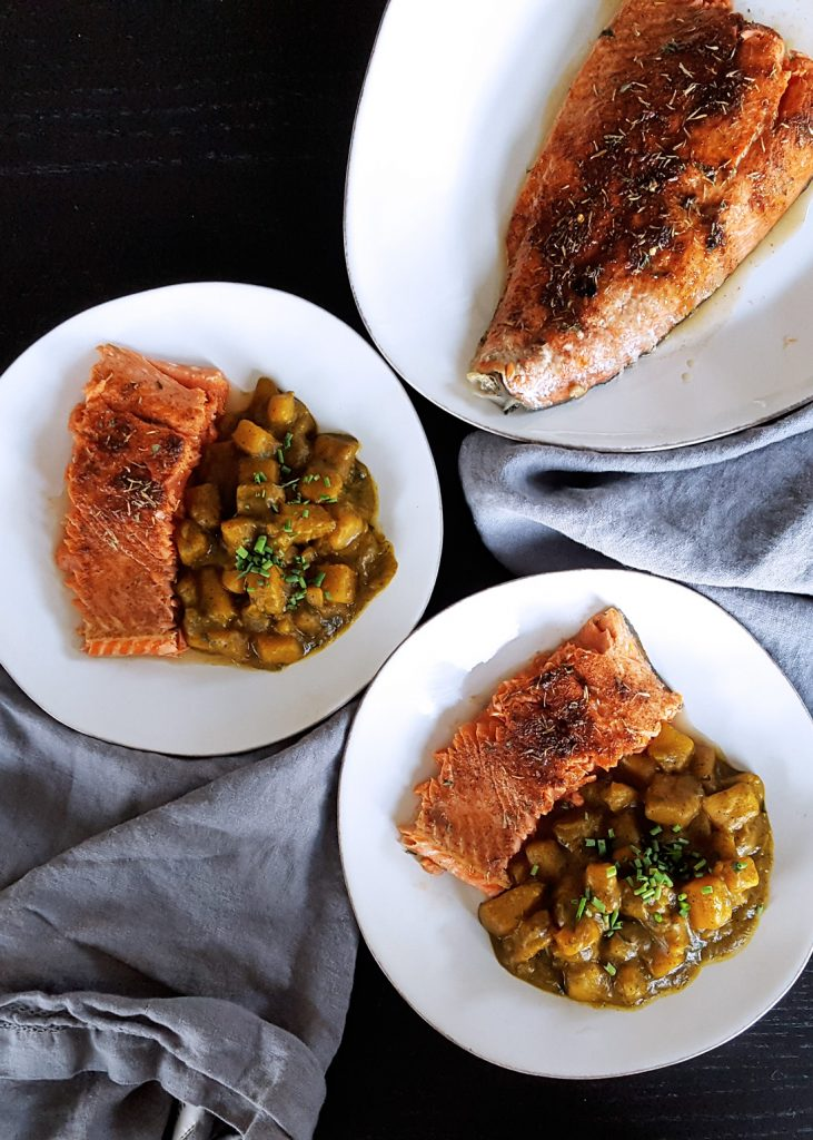 Baked Salmon with Low FODMAP Jerk Seasoning Spice Blend & Brown Sugar on a platter for an easy #weeknight #dinner. #lowfodmap #fodmap #spice #recipe | FeastInThyme.com