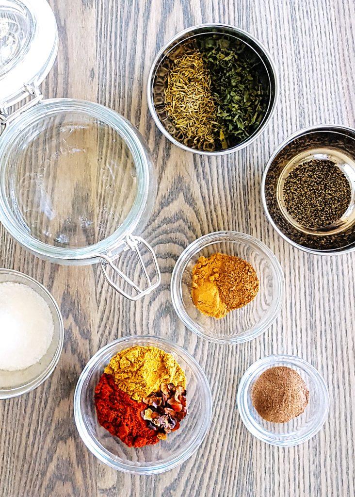 Ingredients for the Low FODMAP Jerk Seasoning Spice Blend. #Caribbean #lowfodmap #fodmap #spice #recipe | FeastInThyme.com