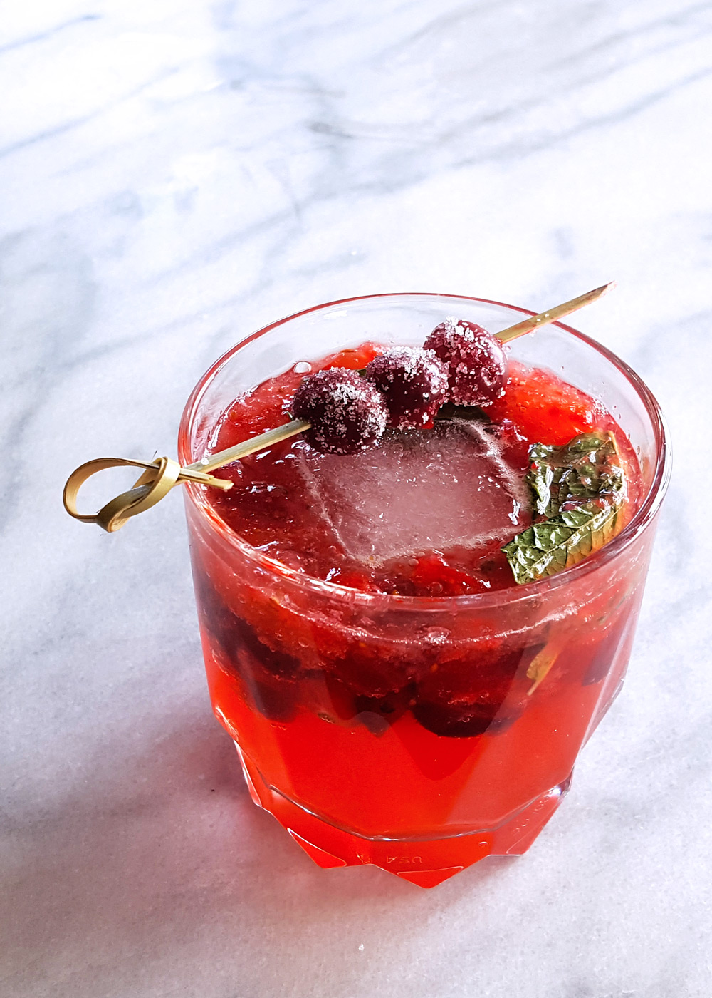 Candied Cranberry Rye Whiskey Smash Cocktail