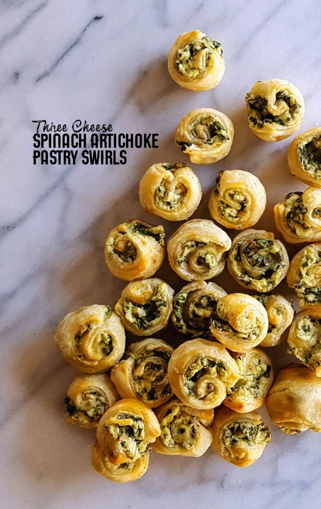 Three Cheese Spinach & Artichoke Pastry Swirls