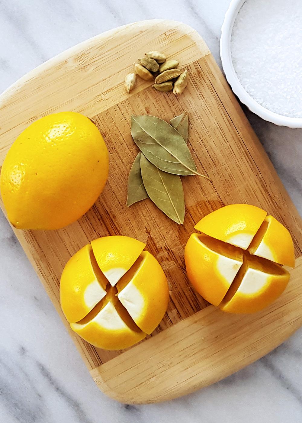 Prepping Meyer Lemons for preserving. | FeastInThyme.com