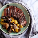 Get ready for a simple & decadent dinner with this Coffee & Cocoa Rubbed Steak in Peppercorn Bourbon Cream Sauce. #datenightin #valentinesday #dinnerdate #steakdinner   FeastInThyme.com