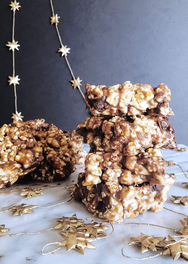 Piles of Salted Caramel Popcorn Bars. | FeastInThyme.com