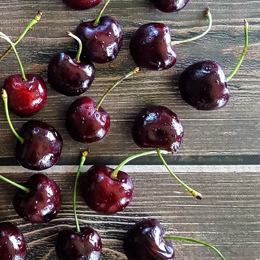 Fresh red sweet cherries. | FeastInThyme.com