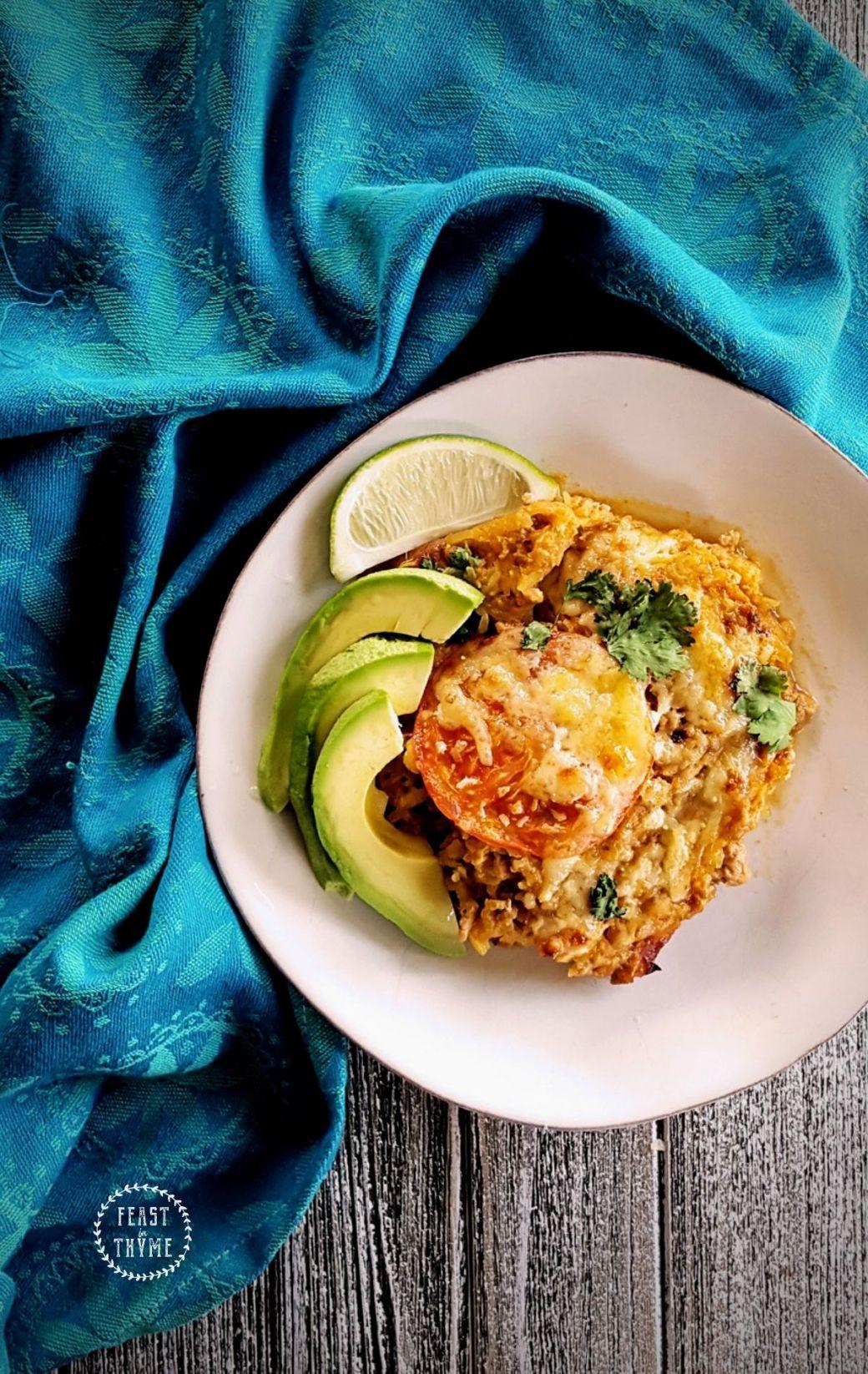 Cheesy Spaghetti Squash Taco Casserole, Lightened-Up