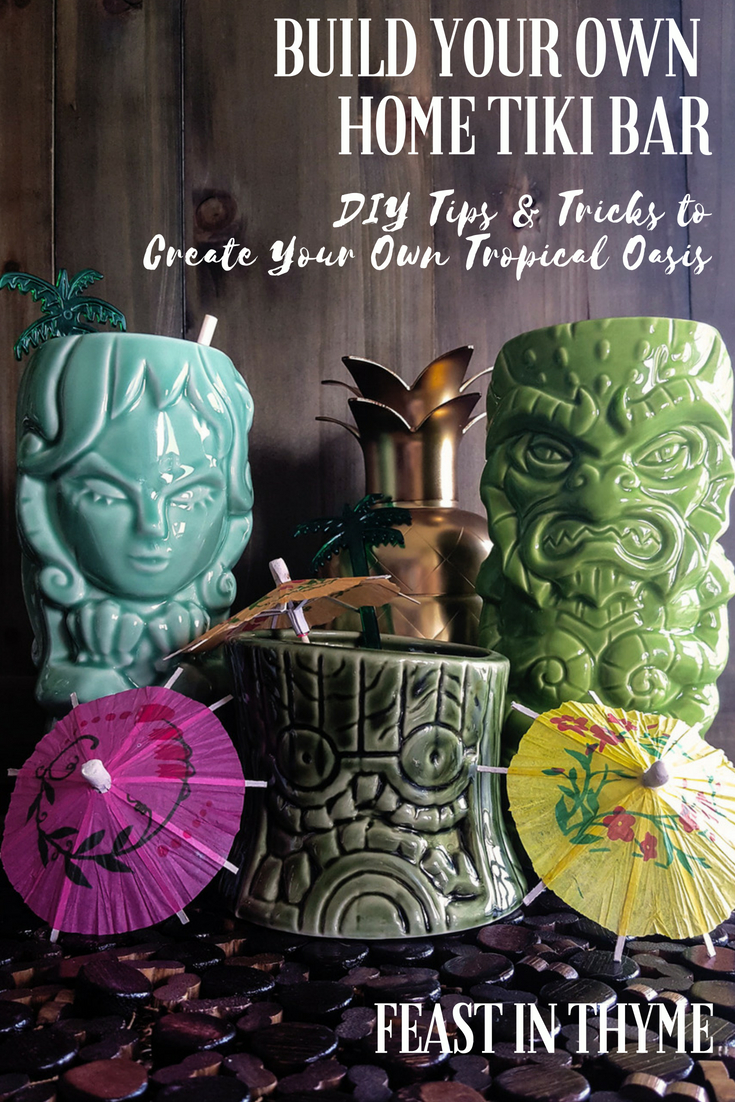 Create your own tropical oasis full of delicious #cocktails with a basic Home Tiki Bar! (Hawaiian shirt and talking parrot optional) #homebar #tikilife #tikiwierd #DIY #tiki #cocktailbar | FeastInThyme.com