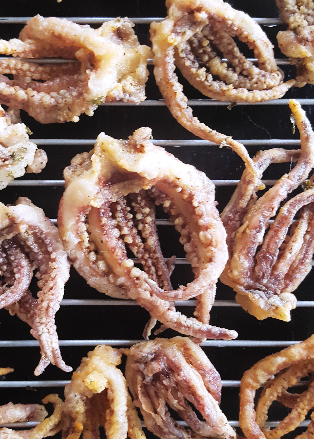 Lightly fried calamari tentacles. | FeastInThyme.com