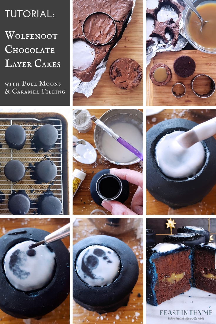 Picture tutorial for assembling and decorating the Wolfenoot Chocolate Layer Cakes. FeastInThyme.com