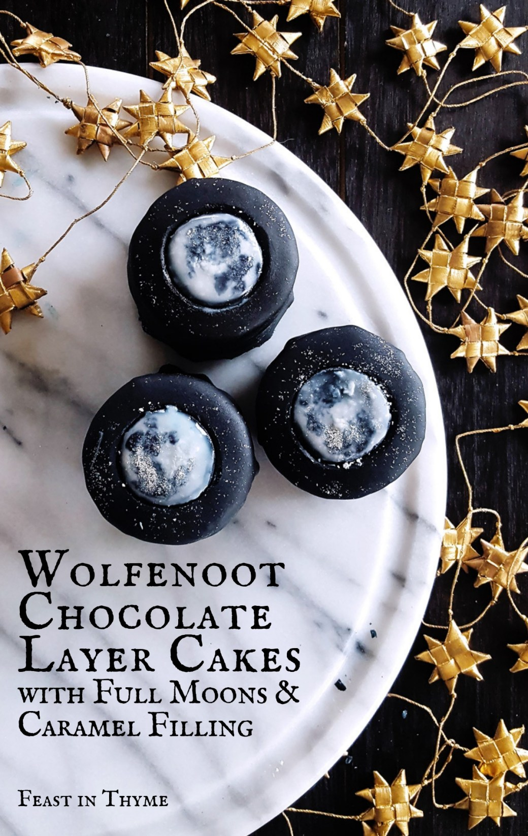 Filled with salted caramel and decorated with full moons, these chocolate layer cakes are the perfect sweet treat for celebrating Wolfenoot on November 23rd! | #wolfenoot #wolfspirit #chocolate #moon FeastInThyme.com