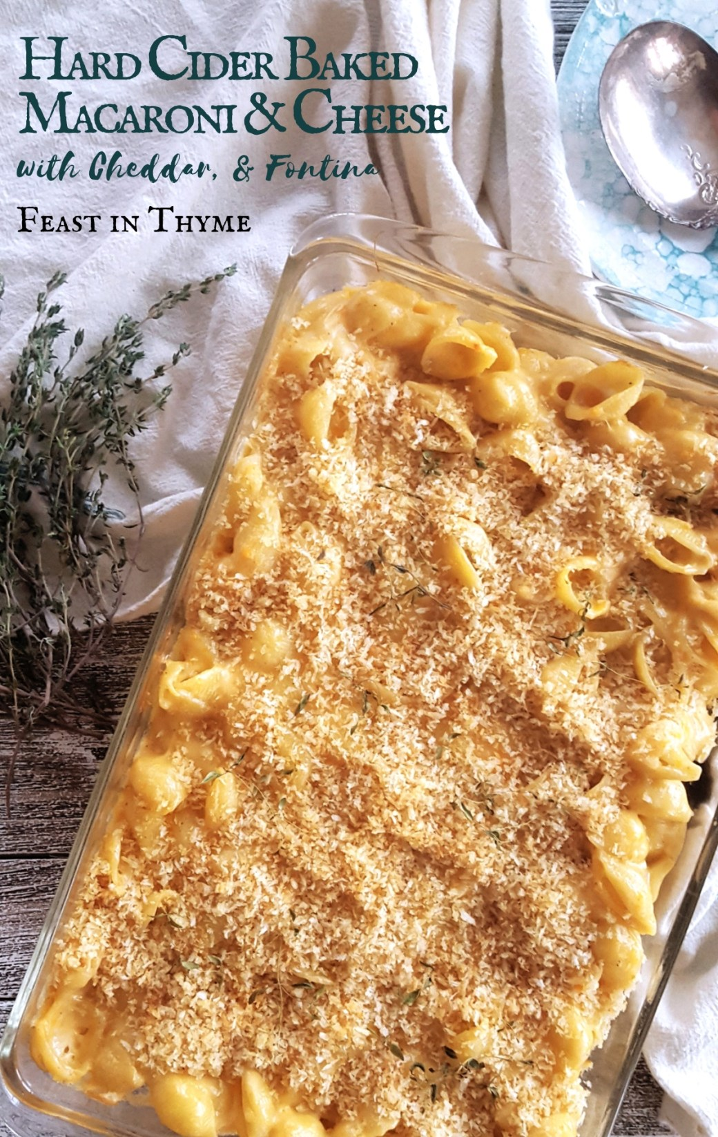With two kinds of cheddar and creamy fontina, this Hard Cider Baked Macaroni and Cheese is a decadent side dish with just a hint of sweet apple goodness. #cheese #cider #easydinner #casserole | FeastInThyme.com