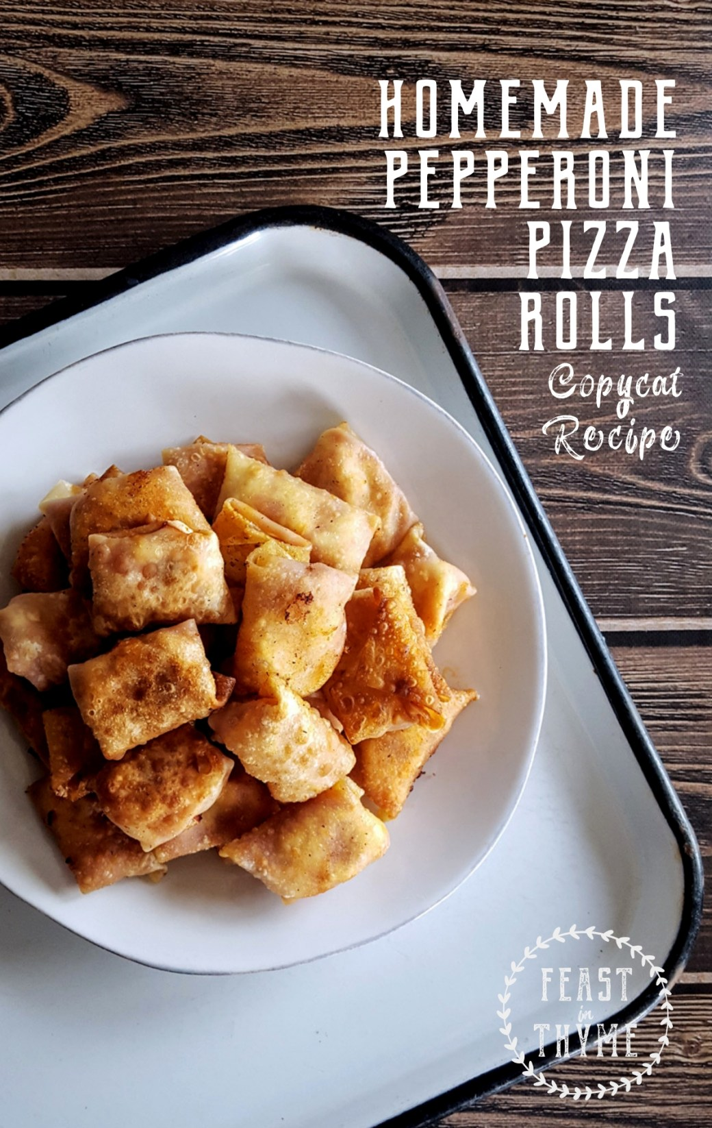Get the party started with a big batch of homemade pepperoni pizza rolls! Baked or fried, these delicious bite-sized snacks are super simple to make for any occasion. #pizzaparty #copycat #pizzarolls #gameday | FeastInThyme.com