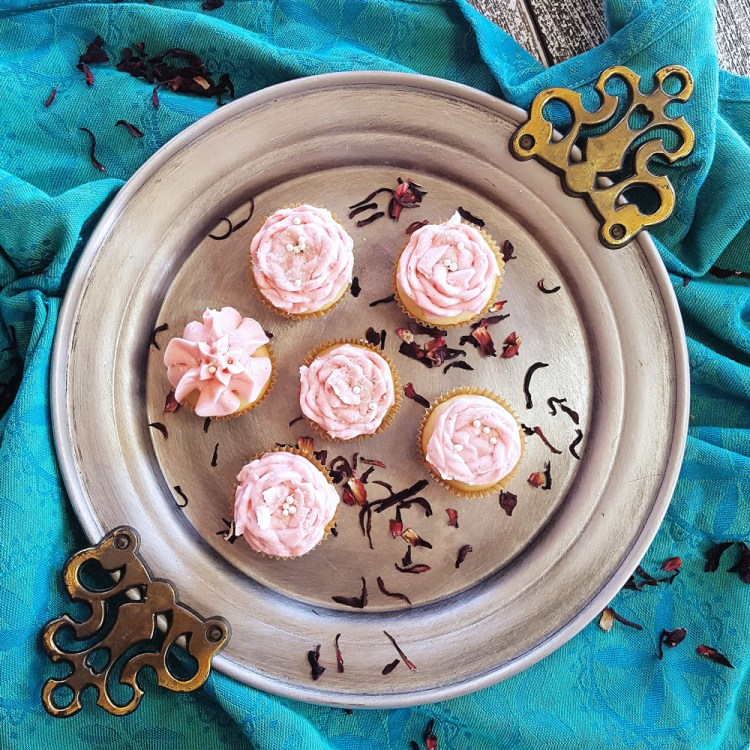 Honey Passionfruit Cupcakes With Hibiscus Lime Buttercream Frosting