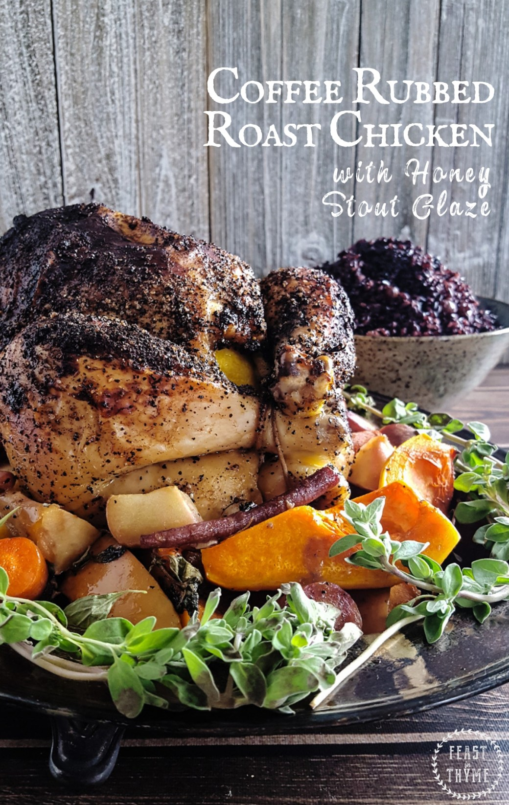 Succulent Coffee Rubbed Roast Chicken is smothered in sweet honey stout glaze and served on a bed of carrots & butternut squash. #fantasyfood #larpfood #roastchicken | FeastInThyme.com