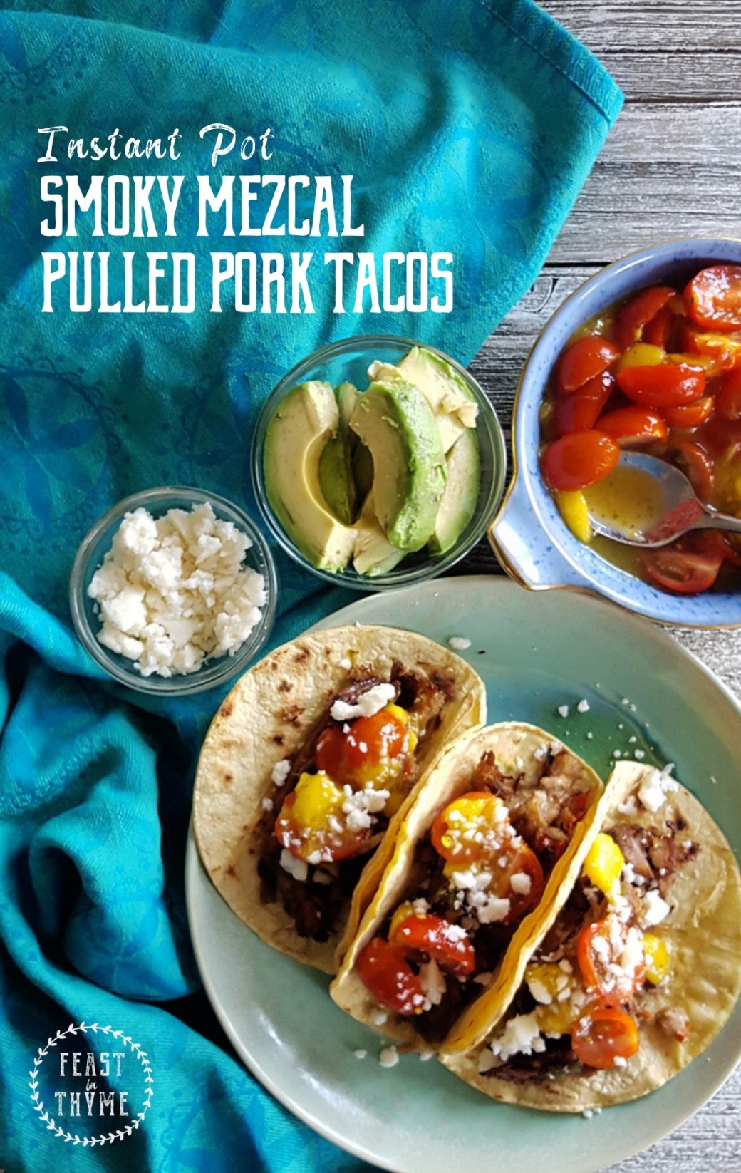 In less than hour, you can have these Smoky Mezcal Pulled Pork Tacos out of the pressure cooker and onto your plates for a crowd-pleasing weeknight meal. #tacotuesdays #instantpot #pressurecooker #weeknightmeal | FeastInThyme.com