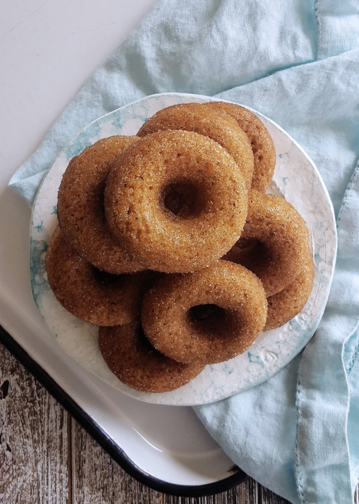 A plate of hard apple cider donuts with a light blue cotton napkin.