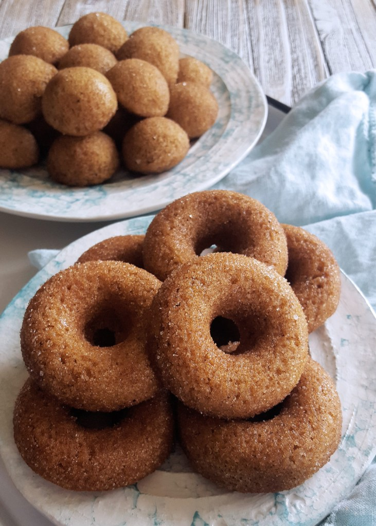 A plate of hard apple cider donuts.