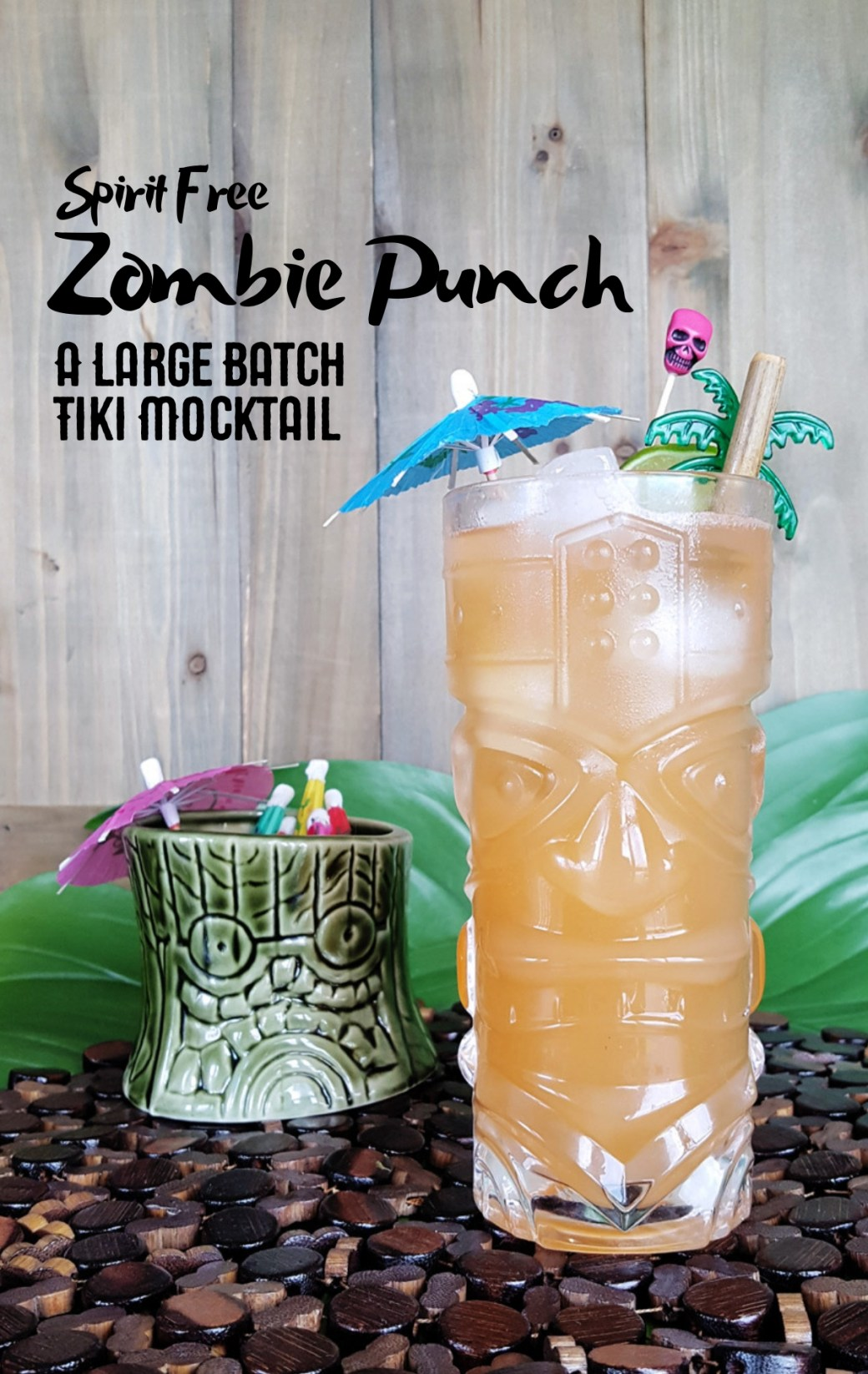 This spirit free Zombie Punch is a tasty non-alcoholic take on the tropical sweet and bitter flavors of a classic tiki cocktail. #tropical #mocktail #punch #party | FeastInThyme.com