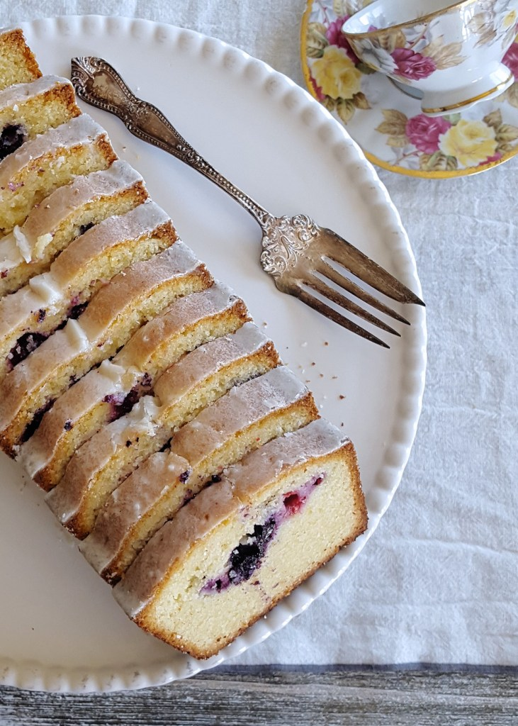 The same Harken Cake as above, sliced and showing off its mixed berry interior.
