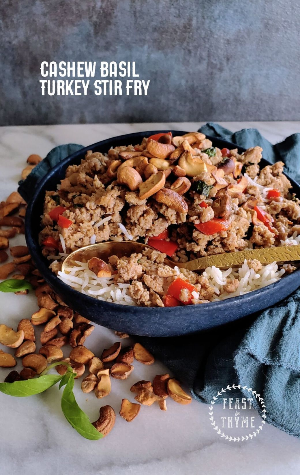 Cashew Basil Turkey Stir Fry