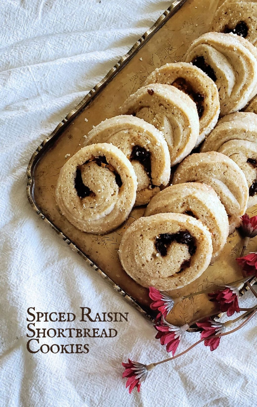 Spiced Raisin Swirl Shortbread Cookies