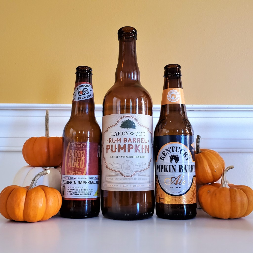 Three barrel-aged pumpkin beers: Lakefront Brewery, Hardywood, Lexington Brewing.