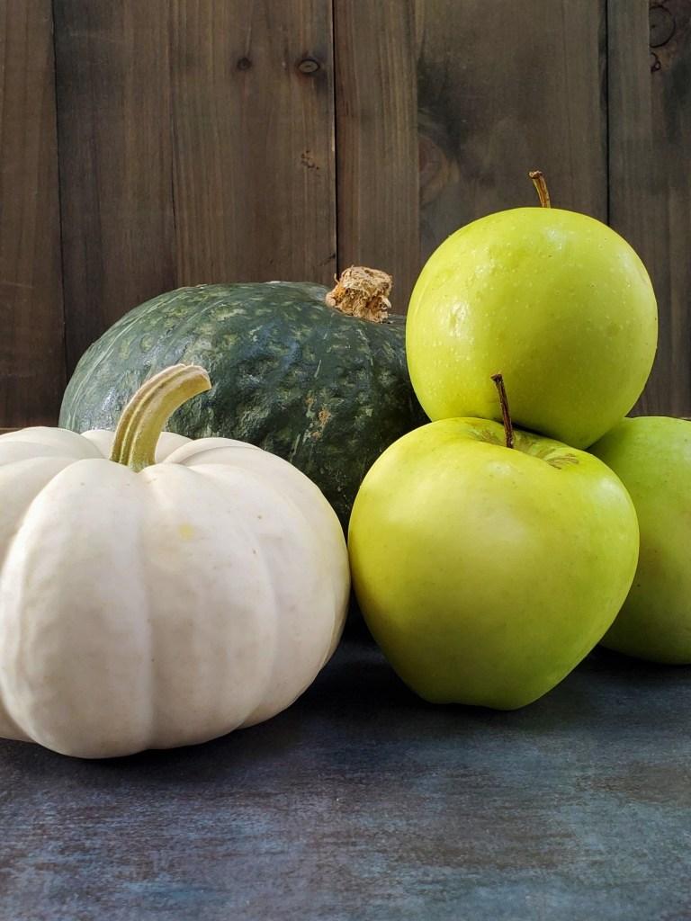 Kabocha squash, ghost pumpkin, and three ginger gold apples.