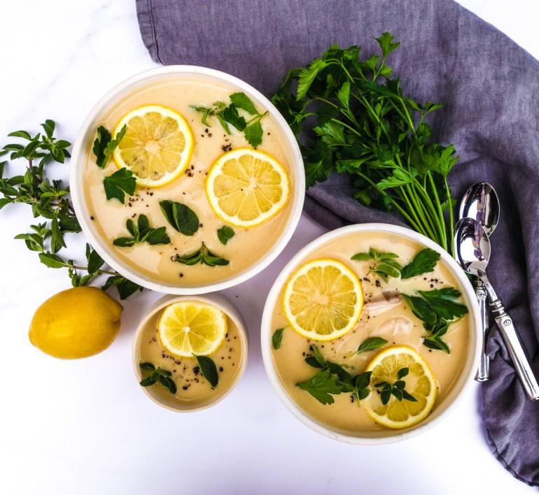 paleo avgolemono soup with lemon and chicken // feastofgreen.com