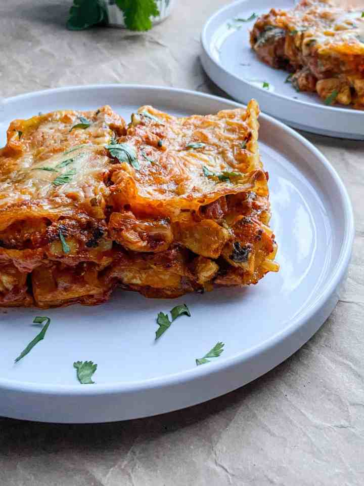 butter chicken lasagna that tastes just like butter chicken and garlic naan.