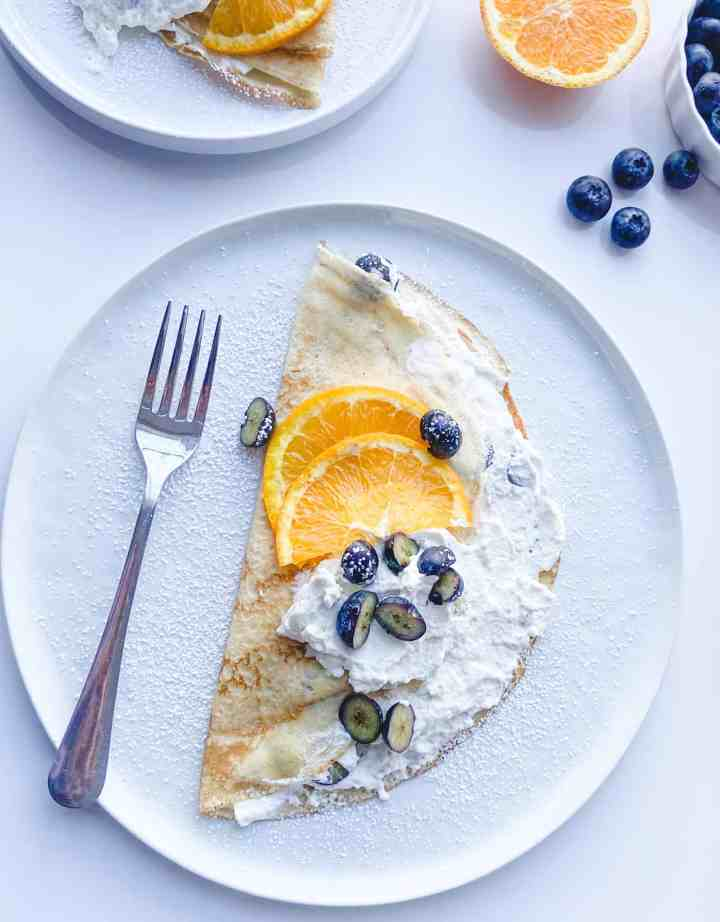 Cardamom Infused crepe with blueberry crepe filling recipe