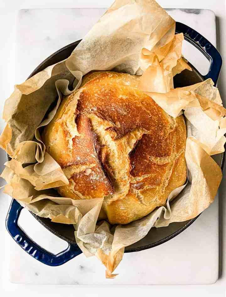 no knead bread recipe. Crusty Dutch oven bread.