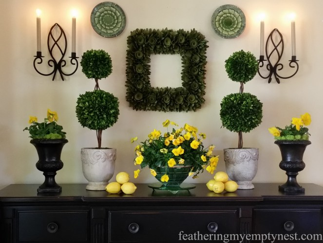 Green and yellow Spring or St. Patrick's Day tablescape --When Life Gives You Lemons--Make A Spring Tablescape