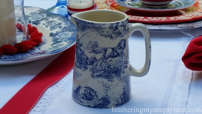 Blue Transferware creamer --Old-Fashioned 4th of July Tablescape