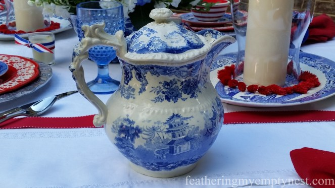 Blue English transferware lemonade pitcher --Old-Fashioned 4th of July Tablescape