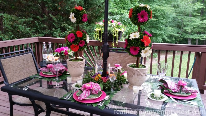 Romantic Flower-themed Summer Tablescape on the deck